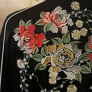 Blank nyc embroidered satin bomber